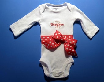 Baby one piece or toddler tshirt - Embroidered and personalized girls ribbon with bow