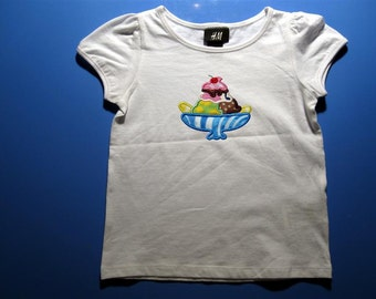 Baby one piece or  toddler tshirt - Embroidery and appliqued girls banana split