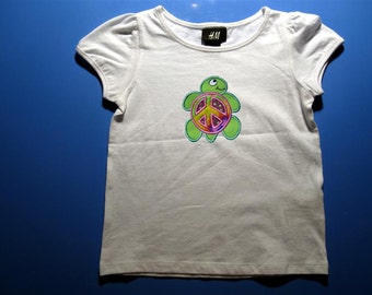 Baby one piece or  toddler tshirt - Embroidery and appliqued girls peace sign turtle