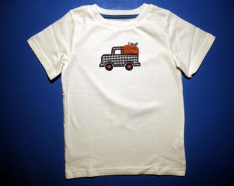 Baby one piece or toddler tshirt - Embroidery and appliqued boys pumpkin truck
