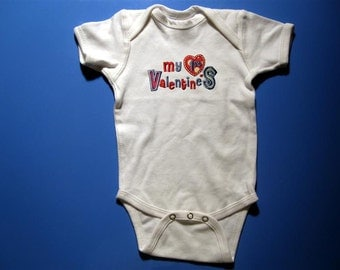 Baby one piece - Embroidery and appliqued my first Valentines day