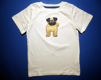Baby one piece or  toddler tshirt - Embroidery and appliqued  pug dog