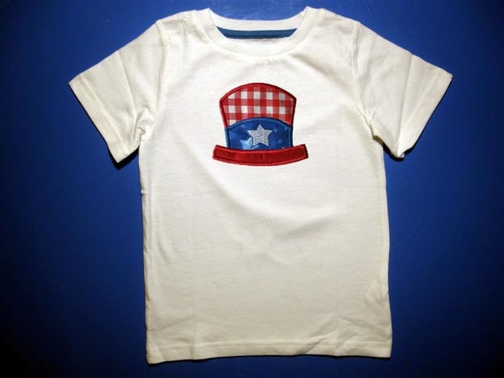 Baby one piece or  toddlers tshirt. - Embroidery and appliqued 4th of July top hat