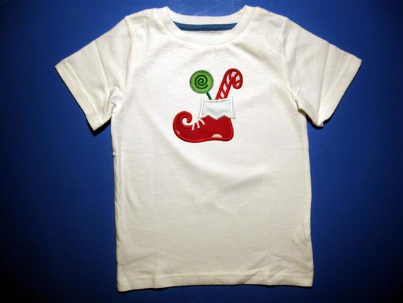 Baby one piece or toddler tshirt -  Embroidery and appliqued Christmas elf shoe