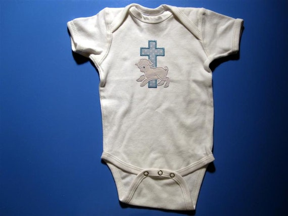 Baby one piece or  toddlers tshirt - Embroidery and appliqued boys cross with lamb