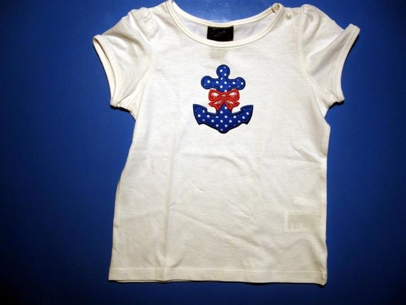 Baby one piece or  toddler tshirt - Embroidery and appliqued  girls boat anchor