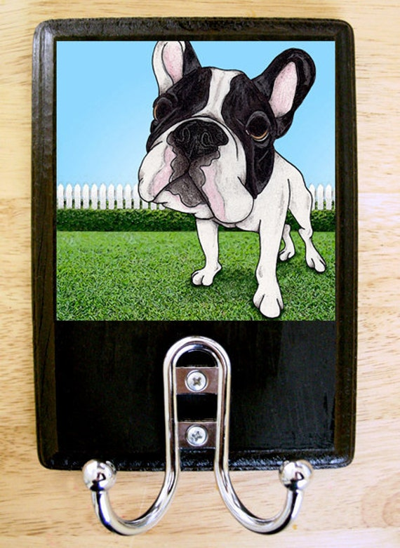 B & W French Bulldog Leash Hook