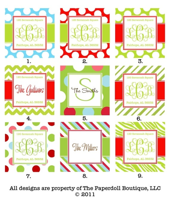 Personalized Monogrammed Christmas Gift Tags
