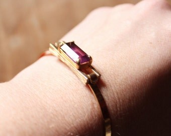 Vintage 70's gold and amethyst Bangle by Avon