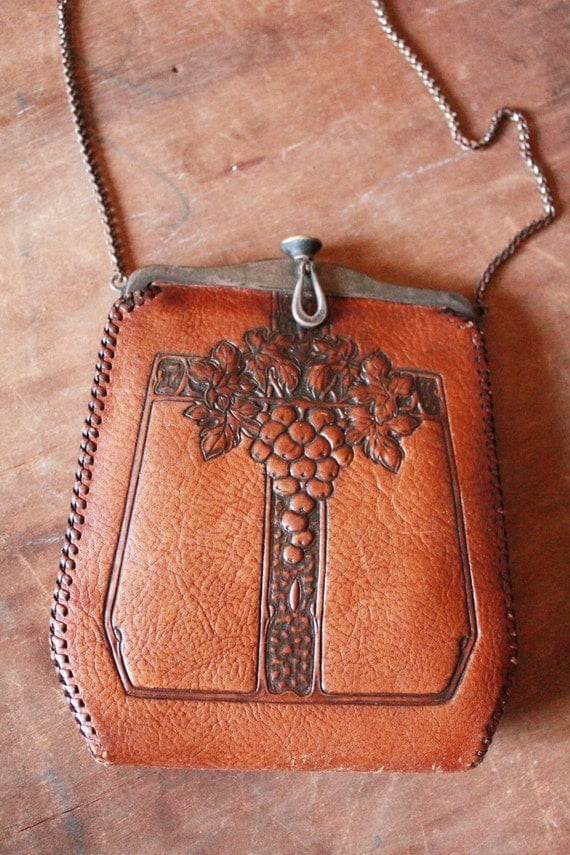 Antique 1915 1918 jemco arts and crafts hand tooled leather for Arts and crafts tote bags