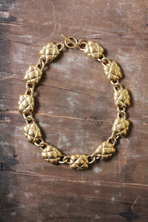 Vintage 80's gold chunky quilted linked Necklace by Anne Klein
