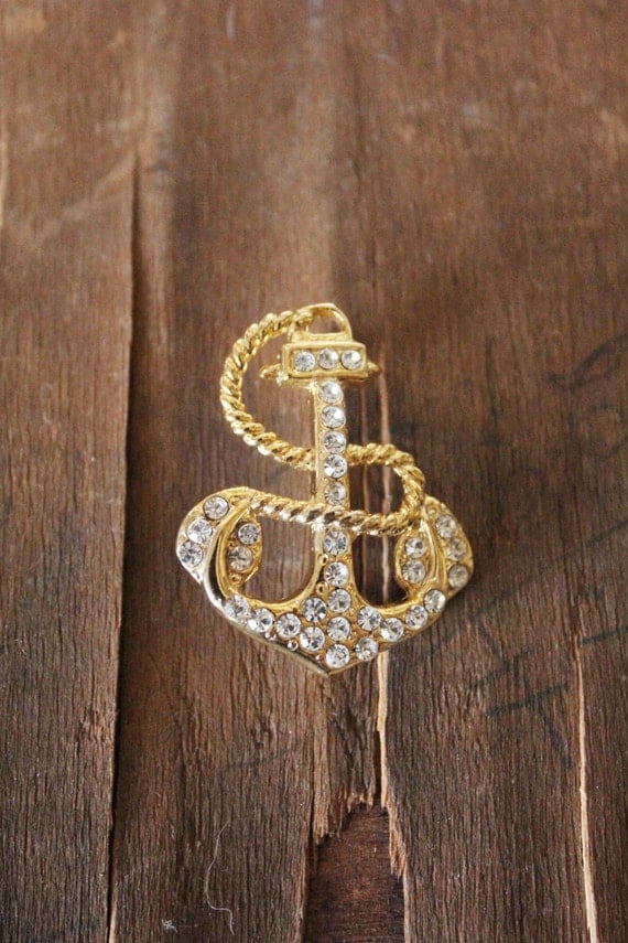 Vintage 80's gold and rhinestone Nautical Anchor Brooch