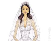 Duchess Kate Middleton-Dutchess of Cambridge-Bridal Illustration-Princess Illustration-Kate Middleton Print-Princess Fashion Illustration