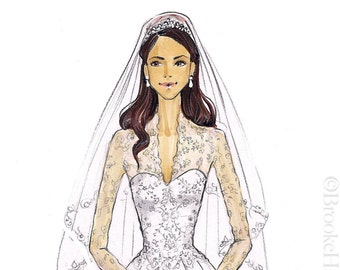 Duchess Kate Middleton-Dutchess of Cambridge-Bridal Illustration-Princess Illustration-Kate Middleton Print-Princess Fashion Illustration