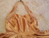 Vintage 1950's Gold Satin Dress Evening/Cocktail Prom Size UK 8 US 4 6