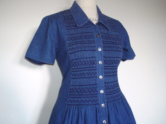 Smocked Denim shirt dress St Michael, England UK 10 US 8 EU 38