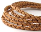 LBOLO0325601) 1 meter of 2.5mm Natural Braided Bolo Leather Cord