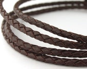 LBOLO0325603) 1 meter of 2.5mm Red Brown Braided Bolo Leather Cord