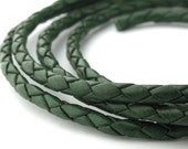 LBOLO0335606) 1 meter of 3.5mm Dark Green Braided Bolo Leather Cord