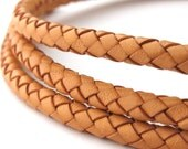 LBOLO0350601) 1 meter of 5.0mm Natural Braided Bolo Leather Cord