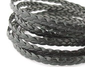 LLFBB1532014) 1 meter of 3x2mm Dark Green Flat Braided Leather Like Cord