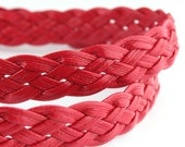 LLFBolo1943057) 1 meter of 4x3mm Moroccan Red Metallic Flat Braided Leather Like Cord