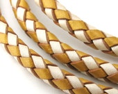 LBOLO0350687) 1 meter of 5.0mm Antique Gold & Pearl Metallic Braided Bolo Leather Cord