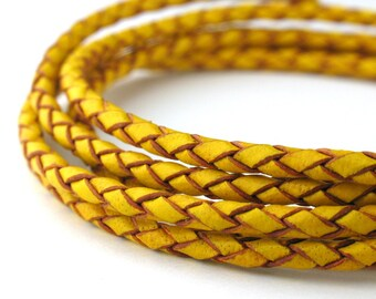 LBOLO0325615) 2.5mm Yellow Genuine Braided Bolo Leather Cord.  0.9 meter, 2.1 meters, 4.3 meters.  Length Available.