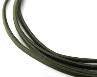 LRD0115037) 1.5mm Mehandi Genuine Round Leather Cord.  1 meter, 3 meters, 5 meters.  Length Available.