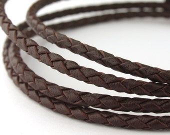 LBOLO0325603) 2.5mm Red Brown Genuine Braided Bolo Leather Cord.  1 meter, 3 meters, 5 meters, 10 meters, 16.1 meters.  Length Available.