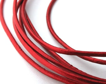 LRD0115057) 1 meter of 1.5mm Moroccan Red Metallic Round Leather Cord