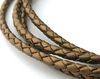 LBOLO0335652) 3.5mm Kansa Metallic Genuine Braided Bolo Leather Cord.  1 meter, 3.65 meters.  Length Available.
