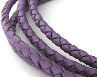 LBOLO0340668) 4.0mm Violet Genuine Braided Bolo Leather Cord.  1 meter, 3 meters, 5.6 meters.  Length Available.