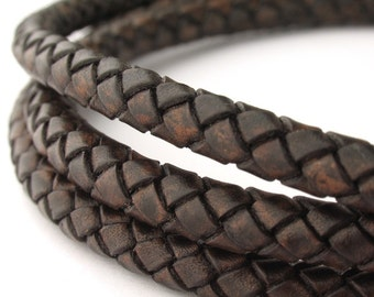 LBOLO0365676) 6.5mm Antique Dark Brown Genuine Braided Bolo Leather Cord.  1 meter, 3.1 meters.  Length Available.