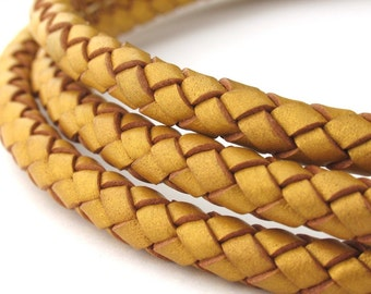 LBOLO0370624) 7.0mm Gold Metallic Genuine Braided Bolo Leather Cord.  1.05 meter, 3 meters, 5.7 meters.  Length Available.
