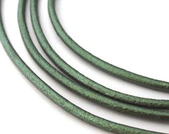 LRD0120066) 2.0mm Ocean Green Genuine Metallic Round Leather Cord.  1 meter, 3 meters, 5 meters.  Length Available.