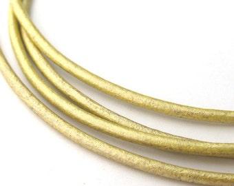 LRD0120055) 2.0mm Maina Genuine Metallic Round Leather Cord.  1 meter, 3 meters, 5 meters, 10 meters.  Length Available.
