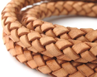 LBOLO0380601) 1 meter of 8.0mm Natural Braided Bolo Leather Cord