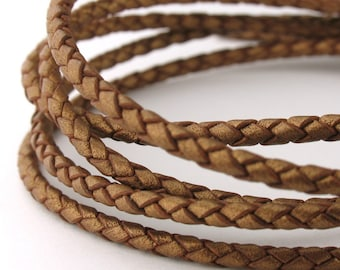LBOLO0325626) 2.5mm Bronze Genuine Metallic Braided Bolo Leather Cord.  1 meter, 3 meters, 5.3 meters.  Length Available.