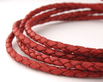 LBOLO0325652) 2.5mm Antique Rust Genuine Braided Bolo Leather Cord.  1 meter, 3 meters, 5.3 meters.  Length Available.