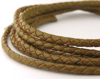 LBOLO0325617) 1 meter of 2.5mm Lime Green Braided Bolo Leather Cord