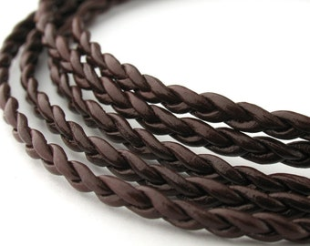 LRB0531703) 3x1mm Red Brown Genuine Round Braided Leather Cord.  1 meter, 3 meters, 4.7 meters. Length Available.