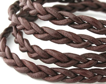 LRB0532703) 3x2mm Red Brown Genuine Round Braided Leather Cord.  1 meter, 3 meters, 6 meters.  Length Available.