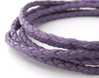 LBOLO0330668) 3.0mm Violet Genuine Braided Bolo Leather Cord.  1 meter, 3 meters, 5 meters, 10.2 meters.  Length Available.