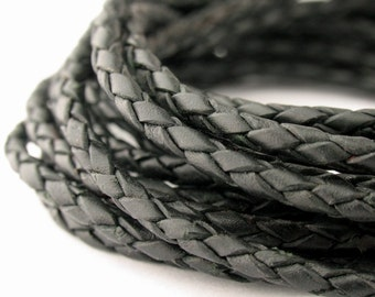 LBOLO0325602) 2.5mm Black Genuine Braided Bolo Leather Cord.  0.9 meter, 2.45 meters.  Length Available.