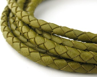 LBOLO0340617) 4.0mm Lime Green Genuine Braided Bolo Leather Cord.  1 meter, 3 meters, 4.4 meters.  Length Available.