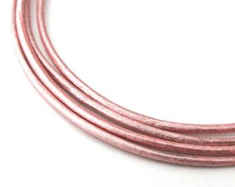 LRD0115056) 1.5mm Suraiya Genuine Metallic Round Leather Cord.  1 meter, 3 meters, 5 meters, 10.9 meters.  Length Available.