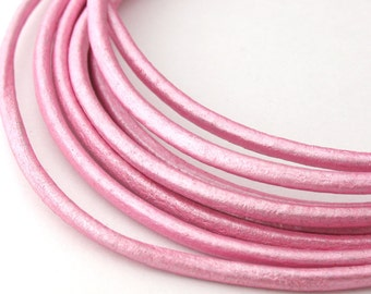 LRD0125060) 2.5mm Mystique Pink Genuine Metallic Round Leather Cord. 1 meter, 3 meters, 5 meters.  Length Available.