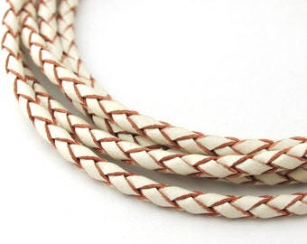LBOLO0325609) 2.5mm White Genuine Braided Bolo Leather Cord.  1 meter, 2 meters.  Length Available.