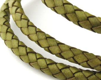 LBOLO0365617) 6.5mm Lime Green Genuine Braided Bolo Leather Cord.  1 meter, 3 meters, 5.45 meters.  Length Available.